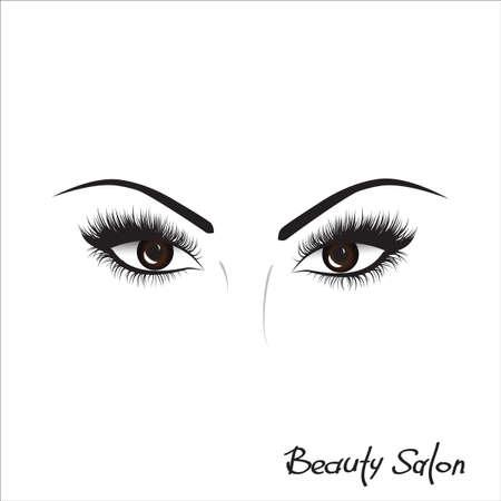 logotipo de la muestra para un salón de belleza, productos de belleza. Pestaña. Vector. dibujo a mano, las letras, la moda, la belleza, boceto Logos