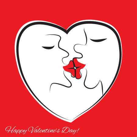 jokes: Kissing people. Frame in the form of heart. Big lips, funny vector illustration.