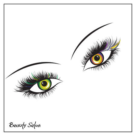 Vector eyes with thick lashes. Color contact lenses. Hand drawing, lettering, fashion, beauty, sketch Illusztráció