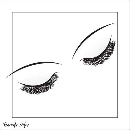 Vector oog met make-up en lange wimpers op een witte achtergrond. Valse wimpers. Beauty Salon Logo, Business Card, Folders