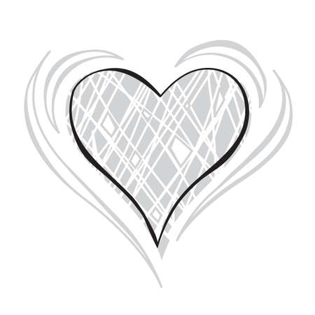 gray scale: Gray scale Doodle Heart Vector Illustration Illustration