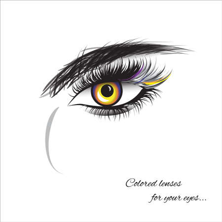 Vector eye with thick lashes. Color contact lenses. Hand drawing, lettering, fashion, beauty, sketch 矢量图像