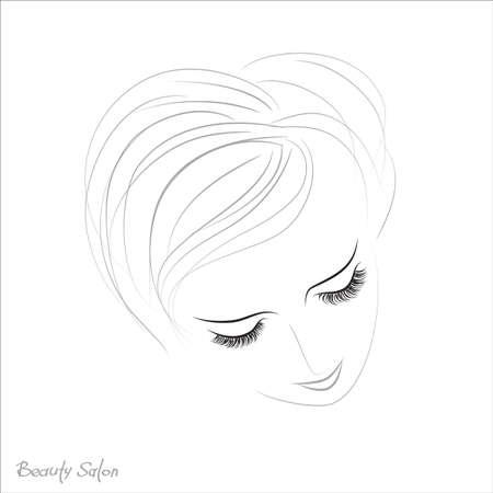long eyelashes: Closed eyes with long eyelashes Sample logo for a beauty salon, beauty products.