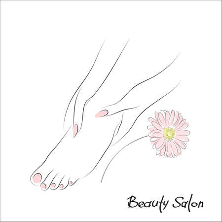 Pedicure banner with female feet and nails, pedicure, spa procedure