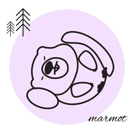 gopher: animal line icon on black background