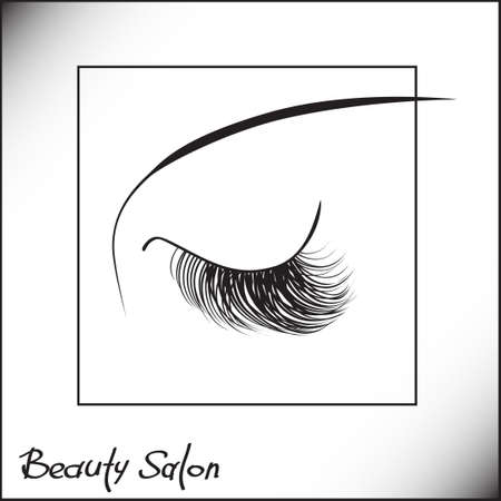 eyes are closed: Closed eyes with long eyelashes Sample logo for a beauty salon, beauty products.