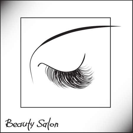 salon de belleza: los ojos cerrados con el logotipo de la muestra pestañas largas para un salón de belleza, productos de belleza.