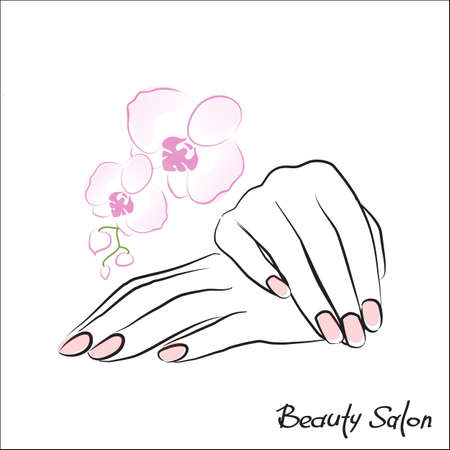 Female hand with painted nails, pink manicure symbol. Vector illustration. Çizim