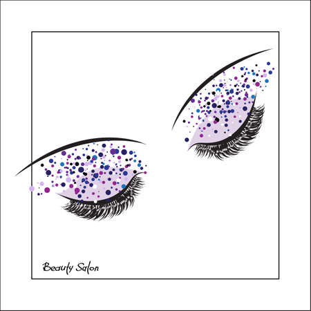 lash: Vector eye with make up and long lashes on white background. False lashes. Beauty Salon Logo, Business Card, Flyer Design