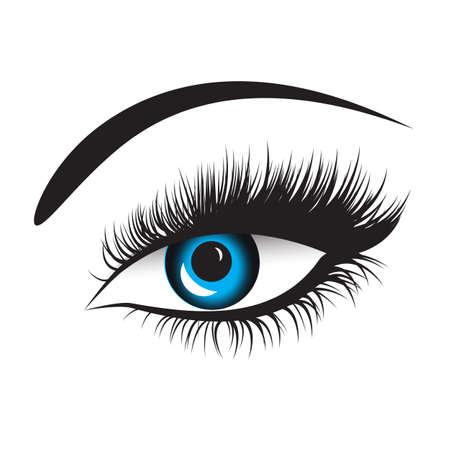 ojo azul del vector con las pestañas gruesas. Gráfico de la mano, la moda, la belleza, boceto