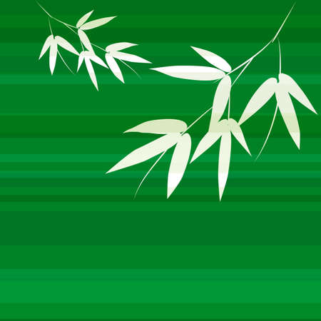 japanese garden: Branch and stalk of bamboo on a green background. Striped floral pattern Illustration