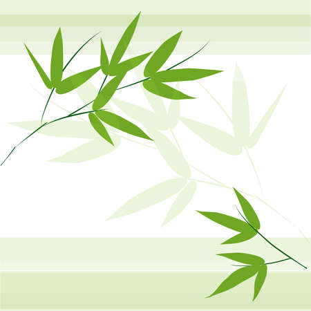 trees silhouette: Branch and stalk of bamboo on a green background. Striped floral pattern Illustration