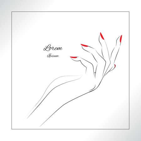 Main Femme avec des clous peints, symbole de manucure rouge. Vector illustration. Banque d'images - 51825109