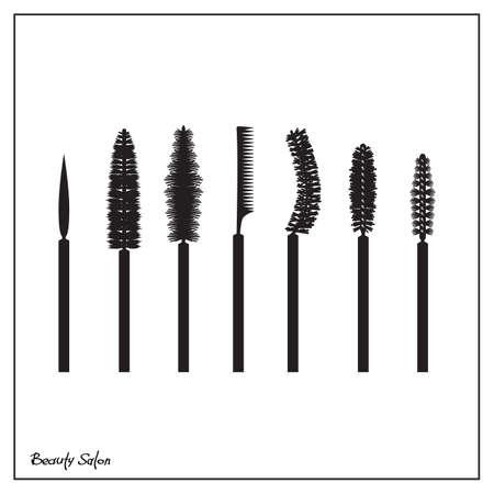 woman face close up: Illustration of a set of brushes mascara, flat icons