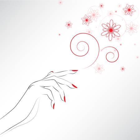 main Femme avec des clous peints, symbole de manucure rouge. Vector illustration.