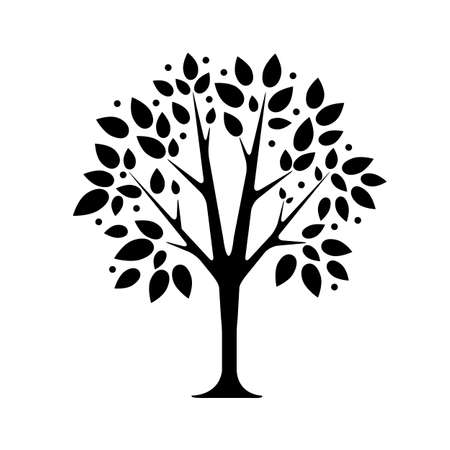 allegory painting: black tree silhouette isolated on white background, vector
