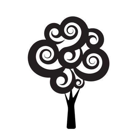 genealogical: black tree silhouette isolated on white background, vector
