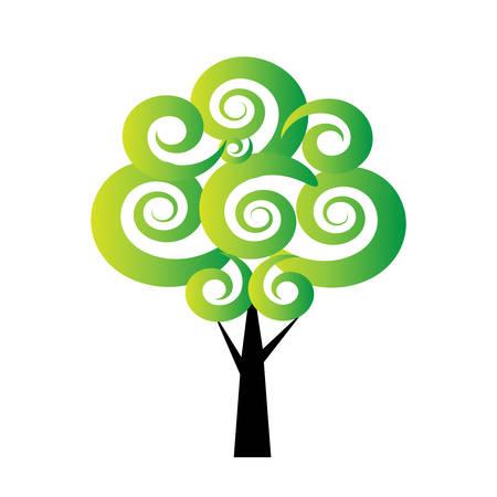 árbol estilizado del vector en el fondo blanco