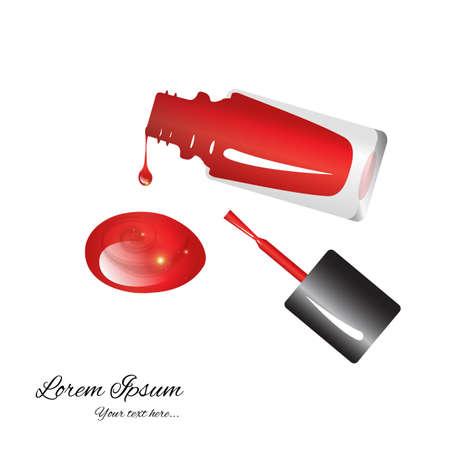 brillant vernis à ongles rouge dans un flacon brillant