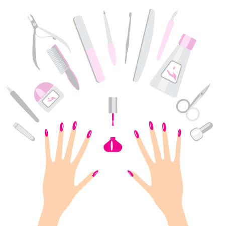 cuticle: Vector set of manicure tools and hands on white background
