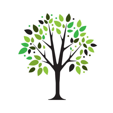 tree silhouettes: Stylized vector tree on white background