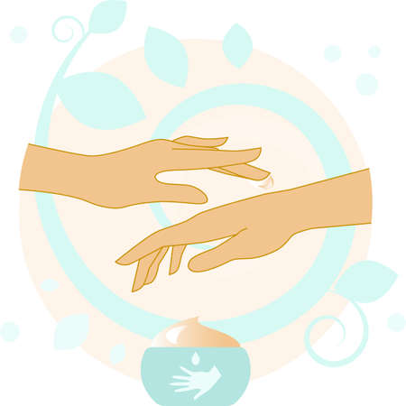healing touch: Vector Beautiful Woman Hands With hand Cream. Illustration