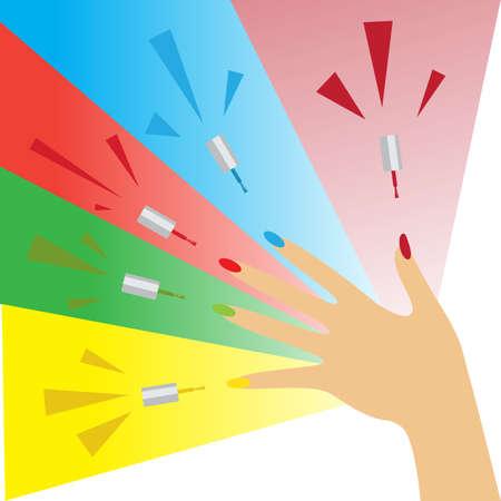 polish: Nail polish design banner. Multi-colored nail polish