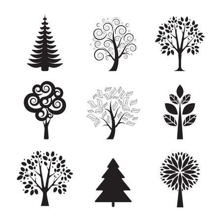 Árbol estilizado vector set iconos sobre fondo blanco Ilustración de vector