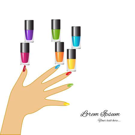Vernis à ongles conception bannière. nail polish Multicolore