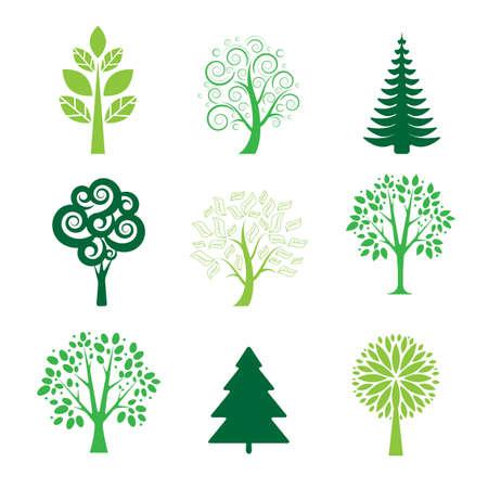 Stylized green tree icons on white background