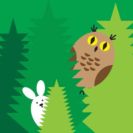 natural selection: The rabbit and owl play at hide-and-seek in the wood