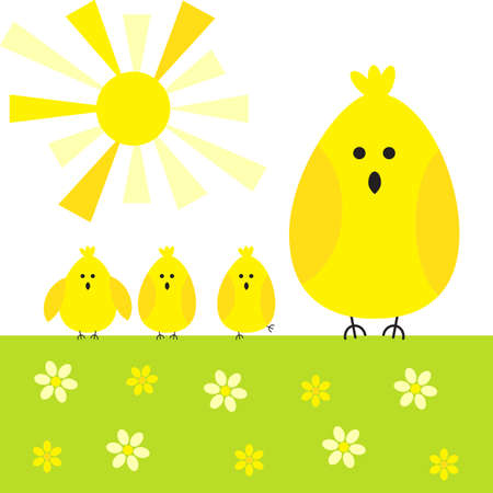 kid vector: Chicken kid vector background or baby cute spring pattern Vectores