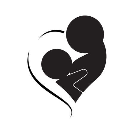Mother breastfeeding her baby symbol.