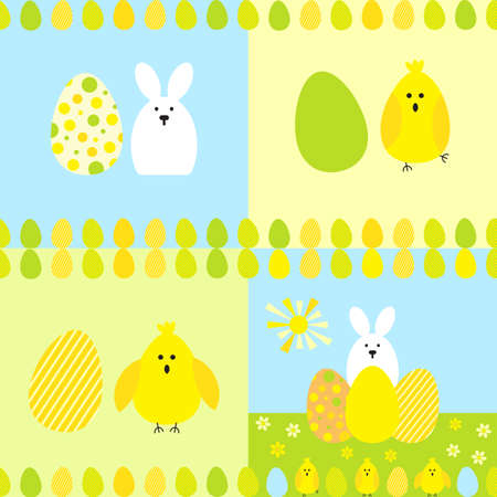 hide and seek: Seamless pattern with easter eggs and rabbit. Multicolored vector background.