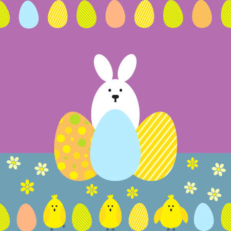hide and seek: Seamless pattern with easter eggs, chicks and rabbit. Multicolored vector background. Illustration