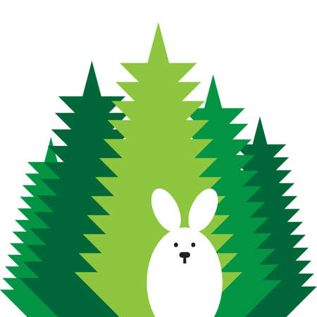 natural selection: rabbit in the wood vector flat icon Illustration
