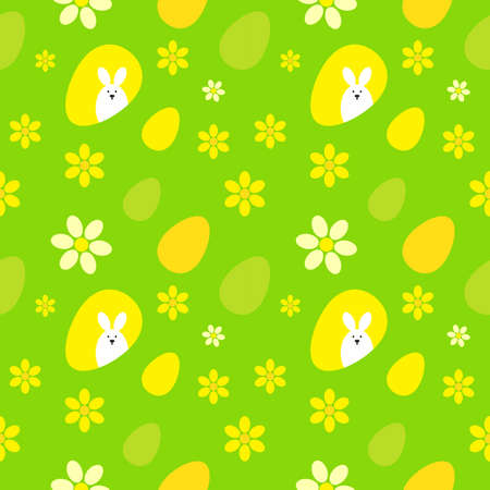 hide and seek: Seamless pattern with easter eggs, easter rabbit and flowers. Multicolored vector background.