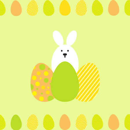 spring summer: Seamless pattern with easter eggs and rabbit. Multicolored vector background.