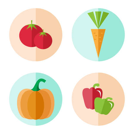 bell pepper: Vegetables icon in flat style. Vegetables vector isolated on white background. Pumpkin, bell pepper, tomato, carrot icon. Illustration