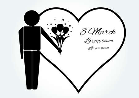 march: Happy womens day card with man, bouquet of flowers and greeting inscription Illustration