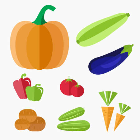 bell tomato: Vegetables icon in flat style. Vegetables vector isolated on white background. Pumpkin, zucchini, eggplant, bell pepper, tomato, carrot, cucumber, potato icon. Illustration