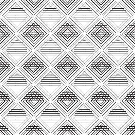 trendy tissue: circles, rombs and squares seamless pattern in a thin line style