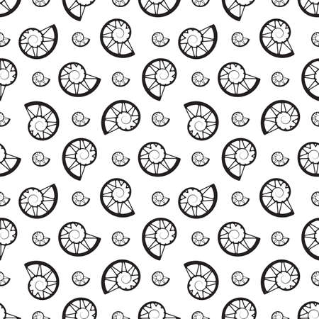 hank: Perfect modern vector seamless pattern with thin line seashells.