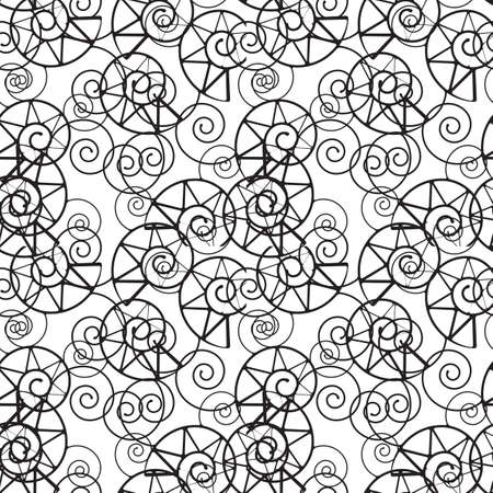 hank: Vector cockleshell  seamless pattern. Black and white circles  background