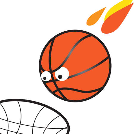 March madness fun vector illustration, evil ball flies into the basket.