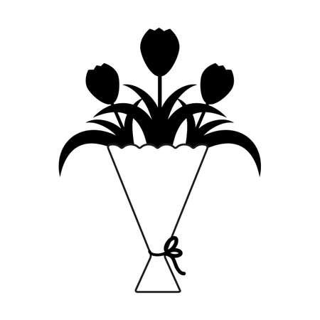 ベクトル リボンと花の花束のアイコン。