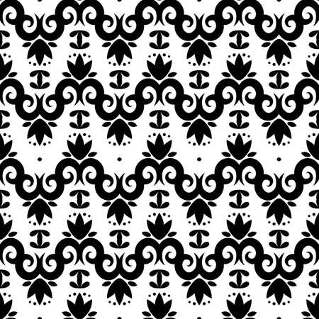 royal french lily symbols: Seamless pattern with black silhouettes gothic lily flowers on a white background