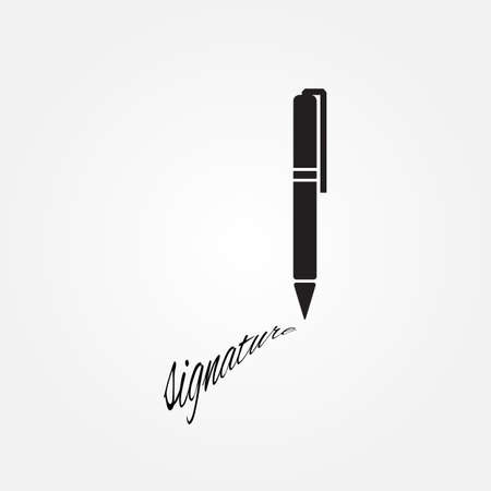 ratify: The signature, pen, undersign, underwrite, ratify icon.  Flat Vector illustration isolated. Ballpoint icon Illustration