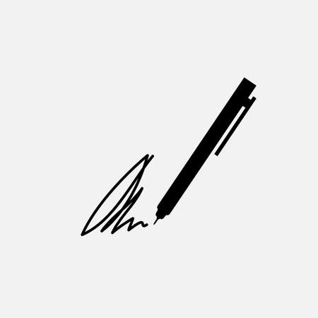 The signature, pen, undersign, underwrite, ratify icon. Flat Vector illustration isolated 向量圖像