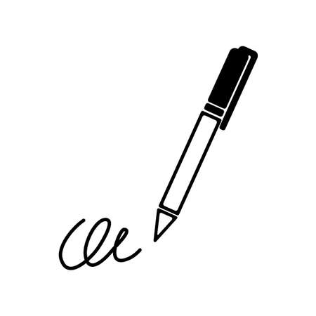 calligraphy pen: The signature, pen, undersign, underwrite, ratify icon.  Flat Vector illustration isolated